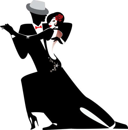 tanzen cartoon: Silhouette Paar tanzt Tango