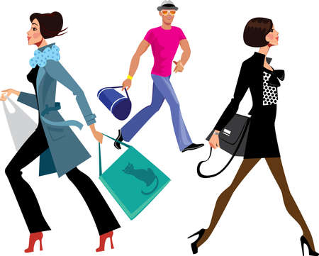vogue style: people hurrying Illustration