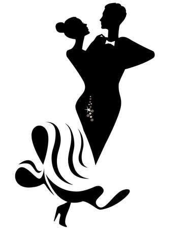 tanzen paar: Silhouette der tanzendes Paar
