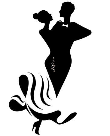dancing couple: silhouette of dancing couple  Illustration