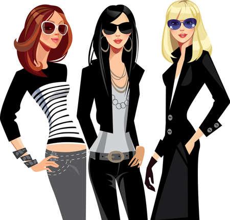 fashion design: three fashion of girls in glasses