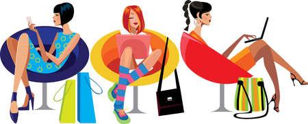 butacas: mujeres j�venes que descansan en una silla Vectores