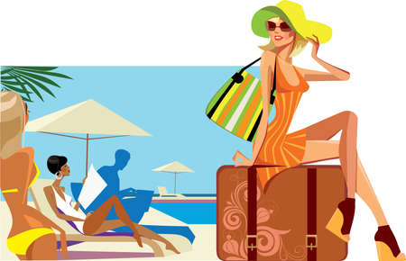 traveler woman sitting on suitcase  Vector