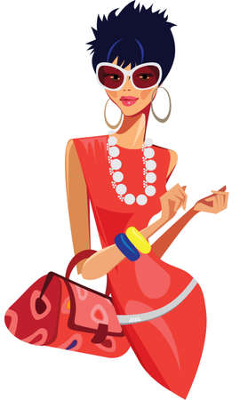 fashion modern woman with bag Illustration