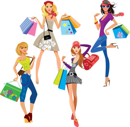 shopping girls  Illustration