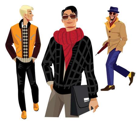 fashion bril: mode mannen Stock Illustratie