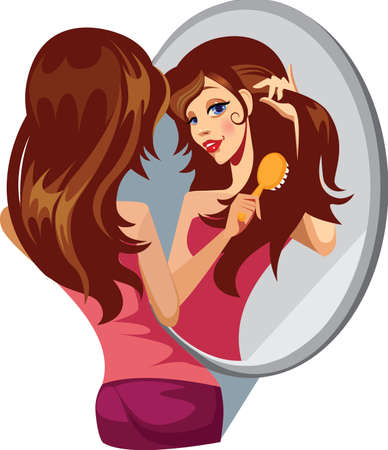 girl combing her hair before a mirror Stock Vector - 15305544