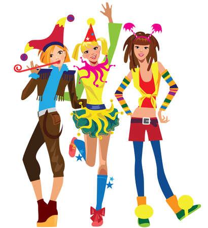 animator: happy girls celebrating birthday Illustration