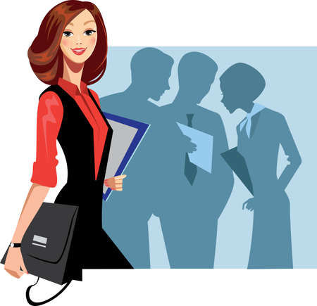 manager woman and staff  Vector