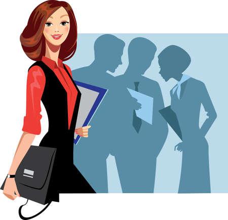 equipos trabajo: mujer gerente y el personal