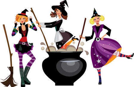broom: three funny witches preparing a potion