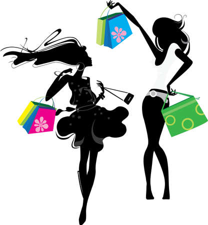 cute girl with long hair: silhouette of a girl  with bags Illustration