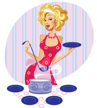 ama de casa: reina cocina Vectores