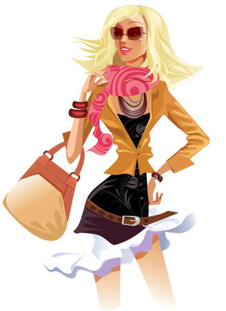 portrait beauty girl with bag Stock Vector - 18728915