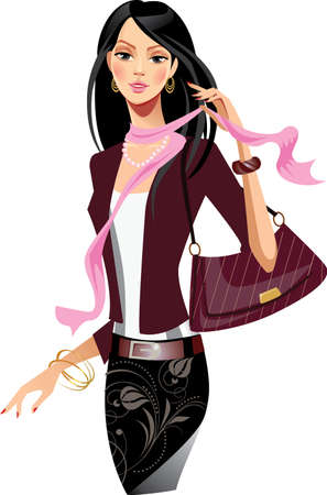 portrait beauty girl  with pink scarf Illustration