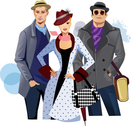 outfit: fashionable men and woman in coat Illustration