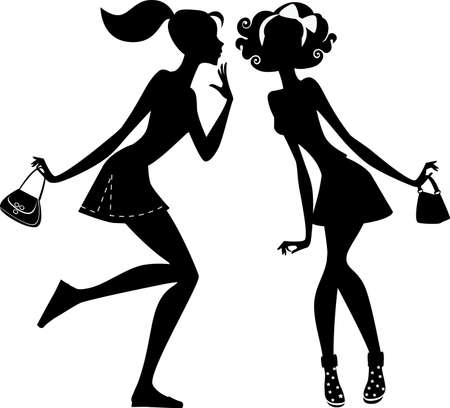 talking cartoon: two girlfriends talking