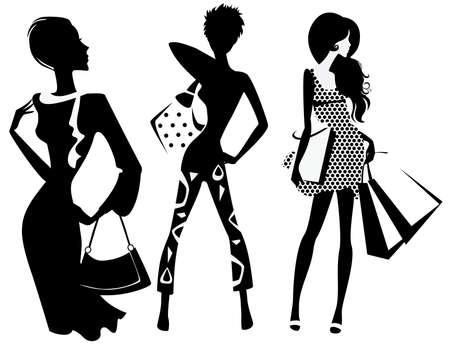 유행: 가방과 함께 패션 여자의 실루엣