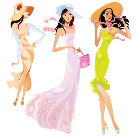 nude girl pretty young: fashion ladies in hats Illustration