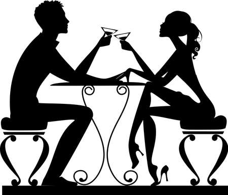 siluetas de enamorados: silueta de un hombre y una mujer en una mesa con un vaso en la mano