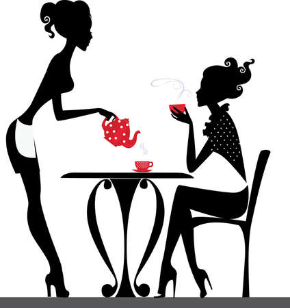 time table: silhouette of a two girls drink tea