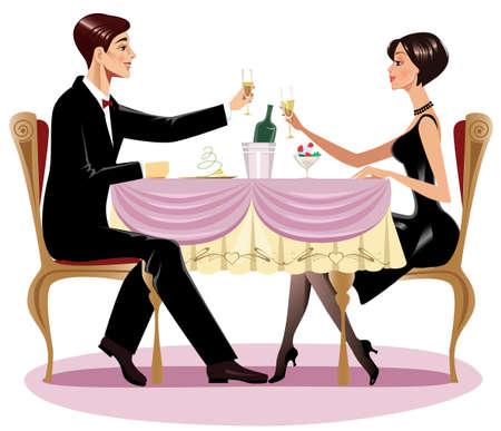 love couple cartoon: loving couple in restaurant