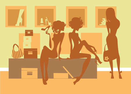 retail shop: silhouette of girls in shop Illustration