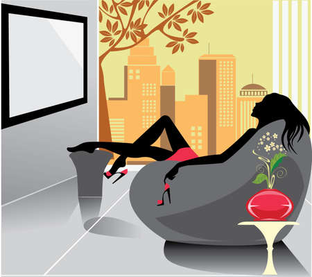 woman relaxation in a chair  Vector