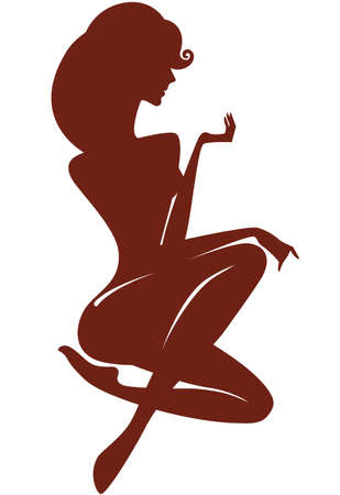 young woman sitting: silhouette of a seated young woman Illustration