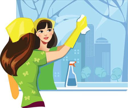 mujer limpiando: ventana de colada de la muchacha
