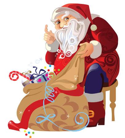 santa s bag: santa claus sitting with a bag of gifts