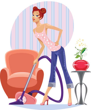 cleaner vacuuming: housewife with a vacuum cleaner  Illustration