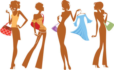 silhouette of fashion girl with bags and dress Vector