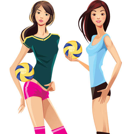 sports girl: two sports girl with volleyballs