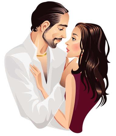 enamorados caricatura: par de los hombres y la mujer amante