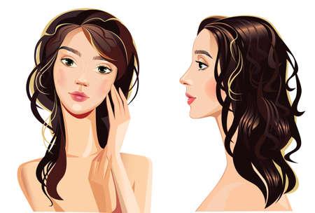 sch�nes frauengesicht: Portrait der sch�nen Frau Gesicht gerade und Profil