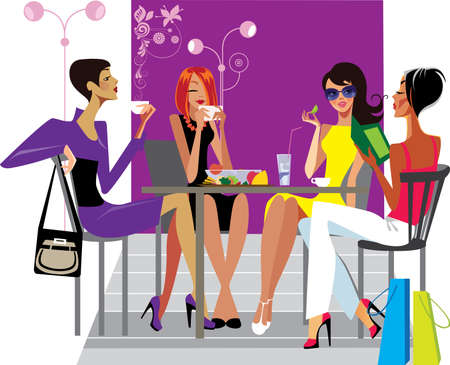 lunch table: girlfriends at lunch in cafe Illustration