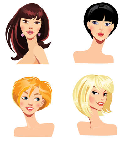 hairdress: different faces of women with hairstyles