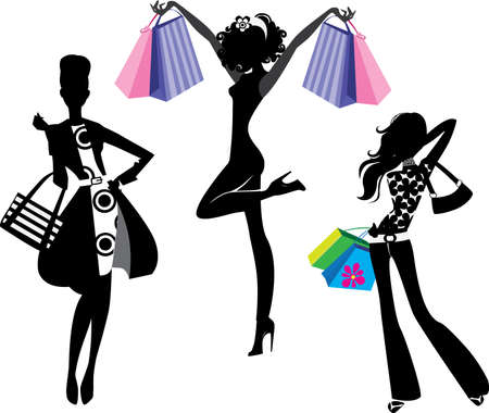 shoping bag: silhouette of fashion girl with bags