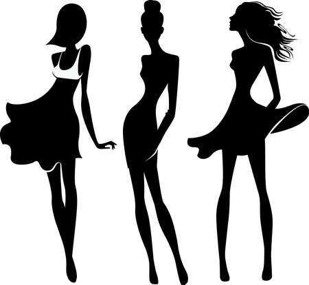 silhouette of fashion girls Vector