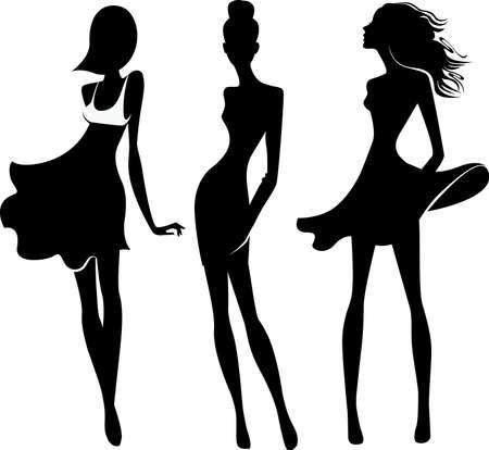 long hair woman: silueta de las ni�as de la moda Vectores
