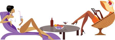 rest day: vector illustration of women on rest
