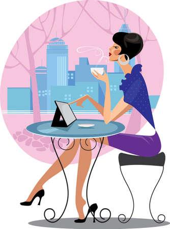 vrouw met tablet: mooie vrouw aan tafel met tablet Stock Illustratie