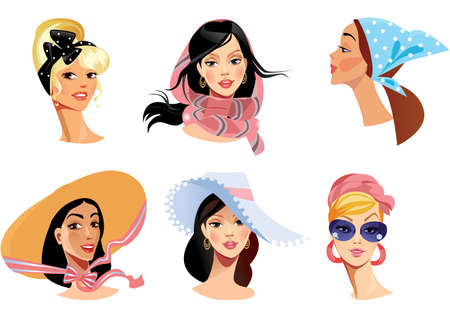 faces of women in different head wear  Vector