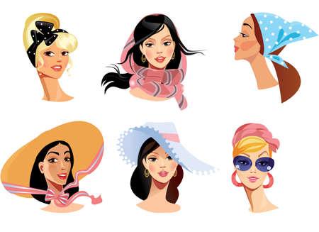 head wear: volti di donne in usura testa diversa