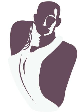 paramour: silhouette of a woman embracing a man Illustration