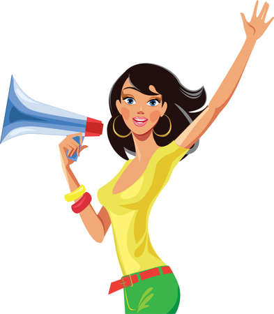 cartoon women: girl with a megaphone in his hand
