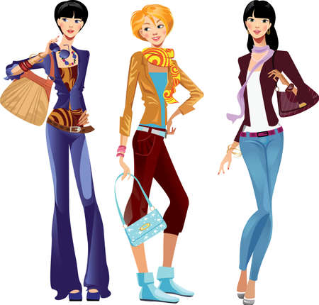 woman scarf: fashion girls in trousers Illustration