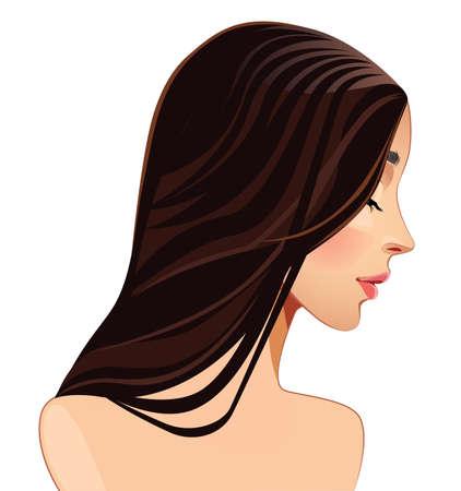 woman profile: girl s head in profile