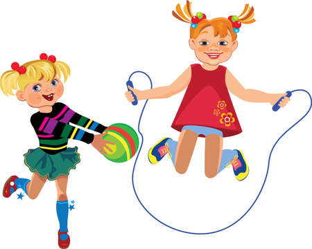 child ball: happy girls playing with a ball and jump rope Illustration